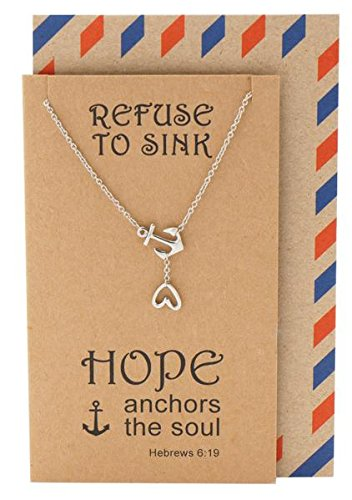 Quan Jewelry Hope Heart Lariat Nautical Anchor Necklace, Christian Jewelry, Sympathy Gifts, Inspirational Quotes on Greeting Card (Silver ()