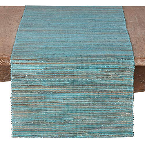 - Fennco Styles Shimmering Woven Nubby Texture Water Hyacinth 16 x 72 Inch Table Runner for Dining Table, Dinner Party, Holidays, Home Decor, Special Events, Turquoise
