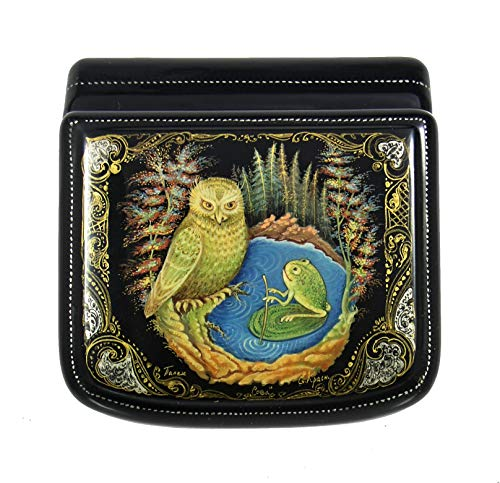 Palekh Russian Lacquer Box OWL with a FROG #3737