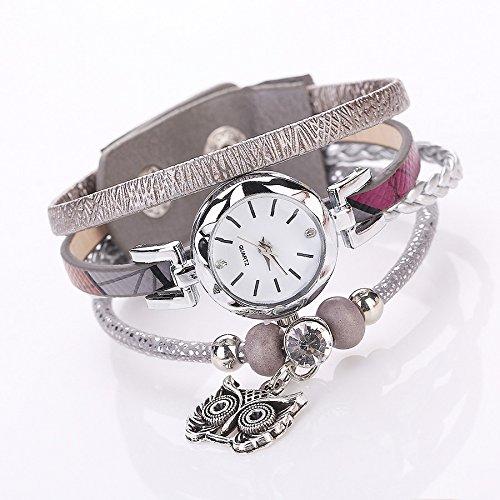 Outsta Watch Fashion Women Girls Analog Quartz Owl Pendant Ladies Dress Bracelet Watches for Girls Women Gift Present (Gray)
