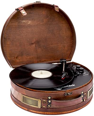 ClearClick Vintage Suitcase Turntable with Bluetooth USB – Classic Wooden Retro Style