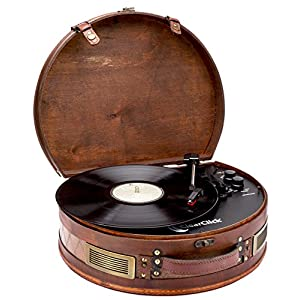 ClearClick Vintage Suitcase Turntable with Bluetooth & USB – Classic Wooden Retro Style