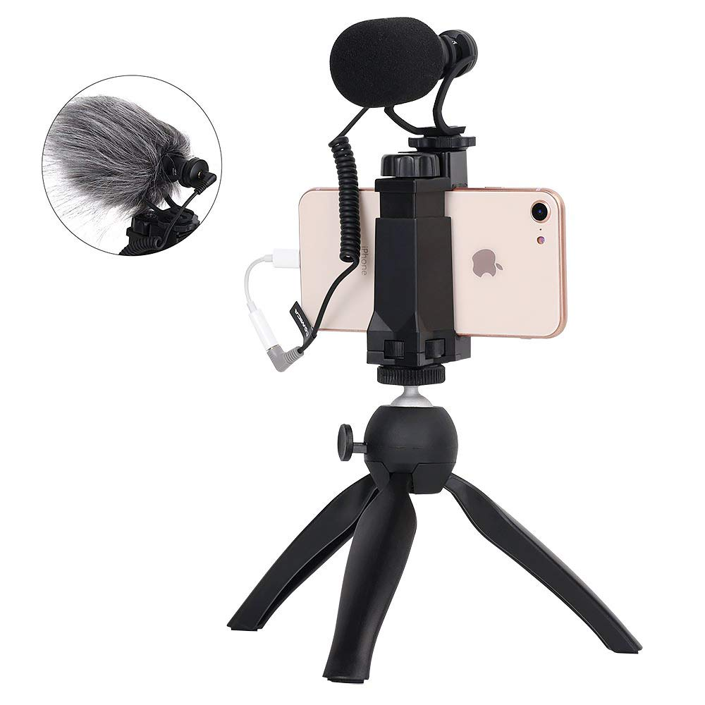 Comica Smartphone/iPhone Filmmaker Video Kit w/Mini Tripod, Shotgun Microphone and Phone Holder (CVM-Vm10-K2) - Black by comica
