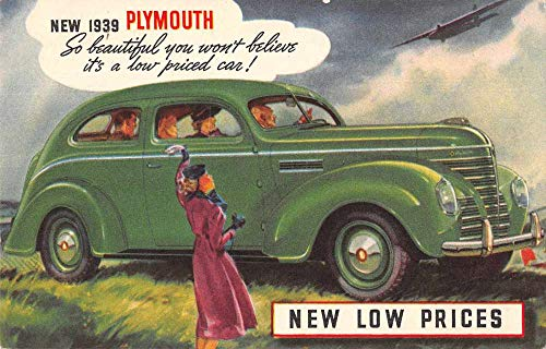 1939 Plymouth Automobile Advertising Vintage Postcard AA742