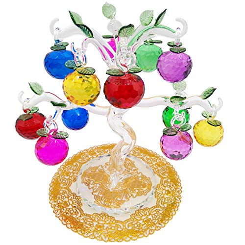 globlepanda Crystal Apple Tree Feng Shui Crystal Money Trees Artificial Bonsai Style Ornament for Living Room Office Party Décor Christmas Birthday Gifts (12 Apples ()