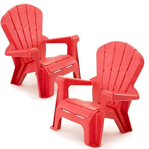 Plastic Patio Arm Chair - Kids or Toddlers Plastic Chairs 2 Pack Bundle,Use For Indoor,Outdoor, Inside Home,The Garden Lawn,Patio,Beach,Bedroom Versatile and Comfortable Back Support and Armrests Childrens Chairs.5 Colorful Little Tikes Contemporary Colors Make a Perfect Childs Chair. (RED)