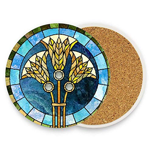 (Ptrfedss Stained Glass Irises Coaster for Drinks,Wallpaper Ceramic Round Cork Table Cup Mat Coaster Pack Of 1)
