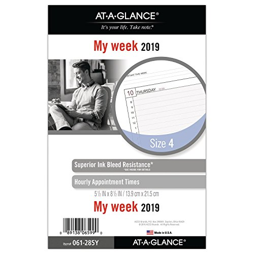 (AT-A-GLANCE 2019 Weekly Planner Refill, Day Runner, 5-1/2