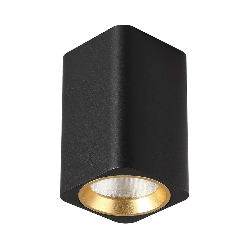GLBS 5W/10W/12W/15W Black Surface Mounted Black Business COB Spotlight Square Household Indoor Free Opening Led Ceiling Panel Light Commercial Decoration Lighting Highlight Downlight