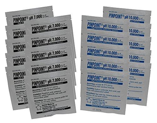 - Pinpoint High-Precision pH Calibration Fluids Kit (pH Buffer Solution), 20 Piece Set - 7.000, 10.000