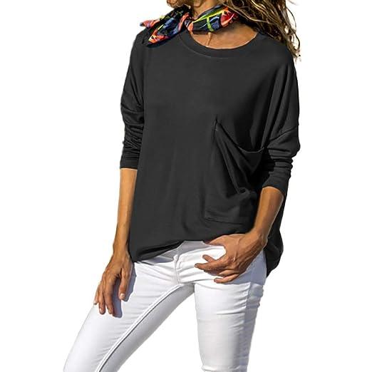 Luckycat Las Mujeres del otoño Sueltan la Blusa de Bolsillo de Manga Larga Suelta sólido O Cuello Tops: Amazon.es: Ropa y accesorios