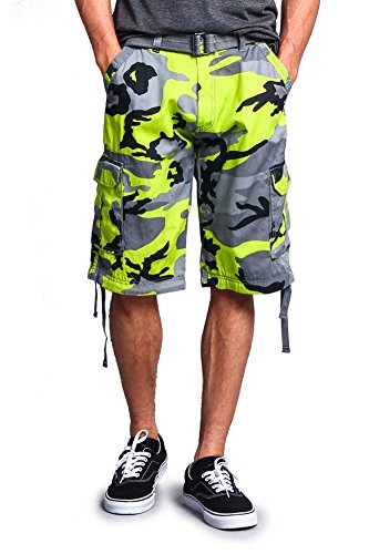 (G-Style USA Men's Camo Ripstop Belted Cargo Shorts 9AP30 - Lime - 32 - S1B)