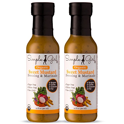 Simple Girl Organic Sweet Mustard Salad Dressing - 2 Bottles - 12oz - Sugar Free - Certified Organic - Kosher - Gluten Free - Vegan - No Carbs - Fat Free - Compatible with Most Sugar Free Diet Plans Organic Vegan Mustard