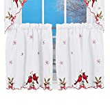 cardinal kitchen - Embroidered Winter Cardinals Window Curtain Panels Collection, Red, Green and White Christmas Accents, 24