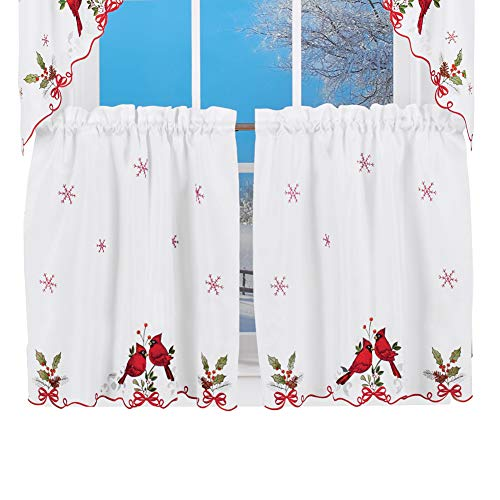 Embroidered Winter Cardinals Window Curtain Panels Collection, Red, Green and White Christmas Accents, 36