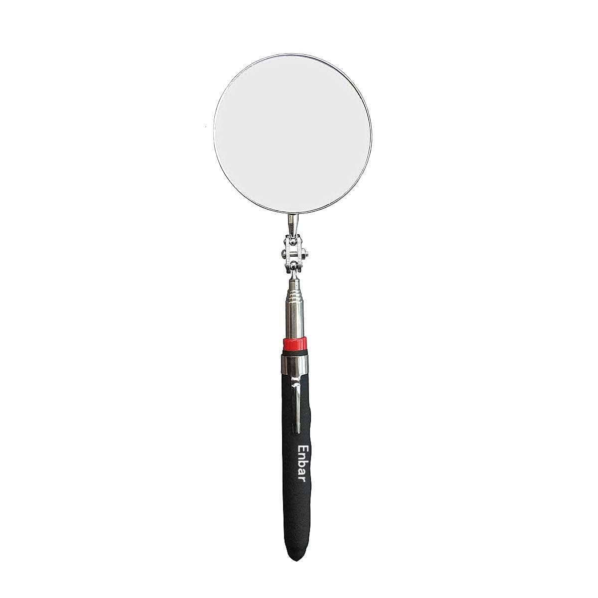 Telescopic Inspection Mirror, Circular Inspection Mirror, Telescopic Inspection Mirror, Flexible Inspection Mirror 360 Rotation, with Buckle Large Round Welding Mirror (Inspection Mirror-01)