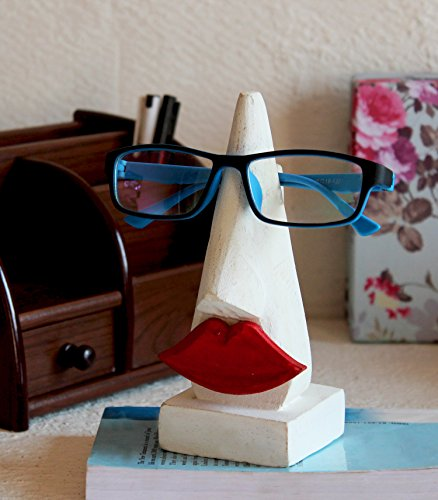 Valentine Day Gifts Wooden Handmade Red Lip Shaped Eyeglass Spectacle Holder Display Stand for Girls Women Office Desk Home Décor Gifts - Feminine Eyeglasses