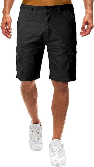yoyorule Casual Pants Mens Summer Outdoors Casual Loose Multiple-Pocket Cotton Overalls Shorts Pants