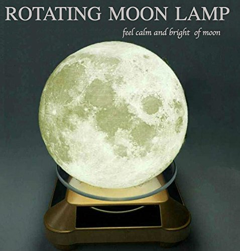 Moon Lamp Rotating - Night Lamp - 3D Moon - 3D Printing Moon - Autism Toys - Moon Light - Moon Lamp Shade - USB Charging - Moon Decor - Luna Lamp with Wooden Mount - Moon Gifts (Battery Cart Print)