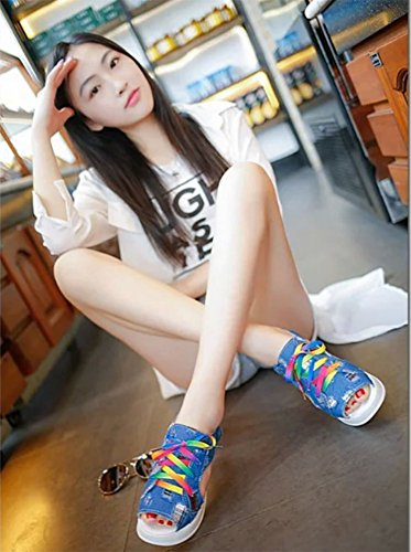 Cystyle Women's Colorful Lace Up Denim Comfort Peep Toe Walking Wedges Sandals Platform Heeled Shoes Deep Blue wDOCu0OuC