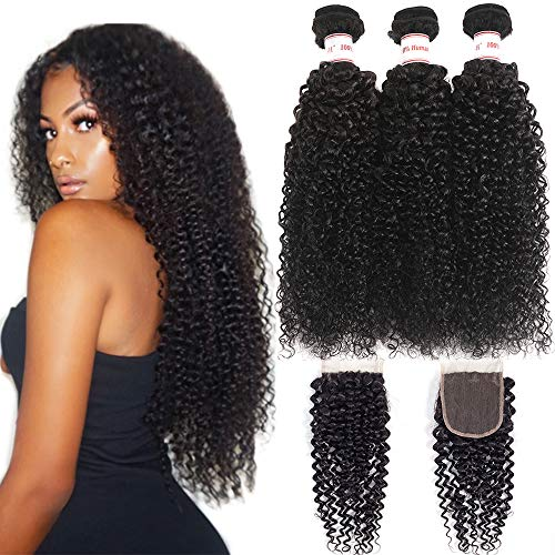 Mermaid 8A Brazilian Kink Curly Virgin Hair Weave 3 Bundles With Closure 100% Unprocessed Curly Human Hair With Free Part Lace Closure Natural Color (18 20 22+16 Free Part)