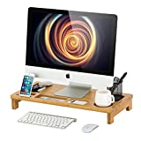Desk Printer - Homury Bamboo Wood Computer Monitor Stand Riser with Storage Organizer Office Desk Laptop Cellphone Desktop TV Printer Stand,Natural