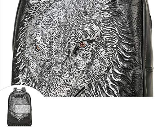 il 3d grande per uomo Wybxa tempo computer tracolla libero zaino lupo borsa per testa donna Nuova capacità per borsa studente e a argento IqwwH8xP