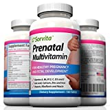 Sorvita Prenatal Multivitamin - Including Folic Acid, Thiamin, Riboflavin, Niacin, Vitamin A, D3, C, E, B6 & B12 Plus Calcium, Zinc & Iron - 180 One a Day Tablets ~ Money Back Guarantee