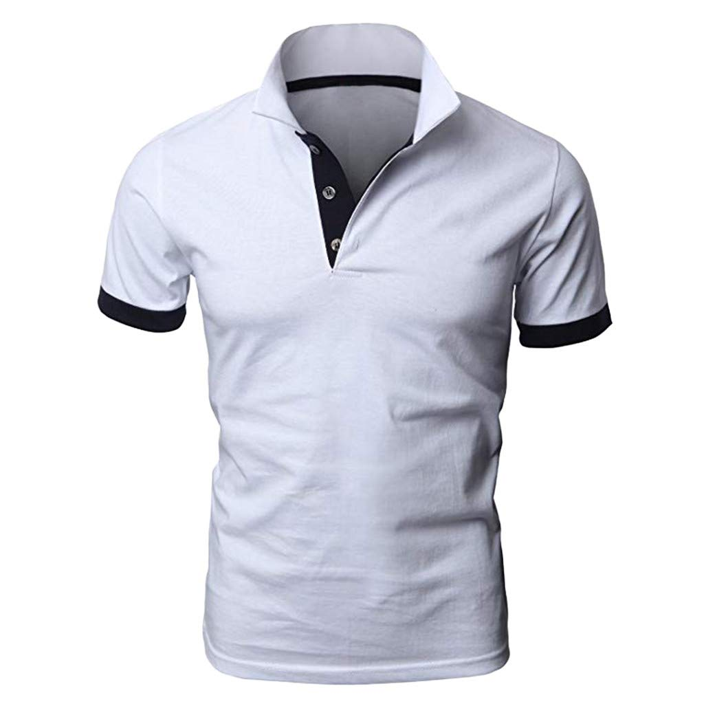 TOTOD Polo Shirts Men's Personality Shirts Casual Stitching Two-Color Pullover Short Sleeve Button T-Shirts Top White