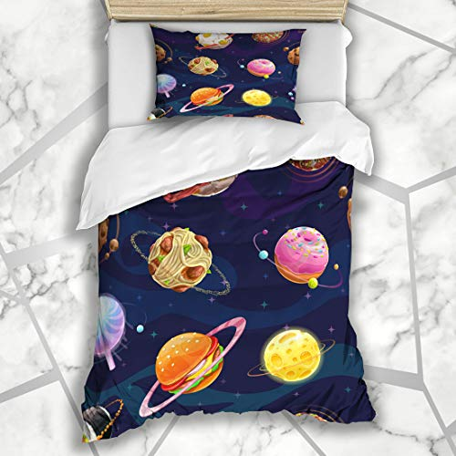 Ahawoso Duvet Cover Sets Twin 68X86 Bizarre Space Pattern Fantasy Food Spheres Planets Funny Drink World Comic Orbit Tasty Microfiber Bedding with 1 Pillow Shams
