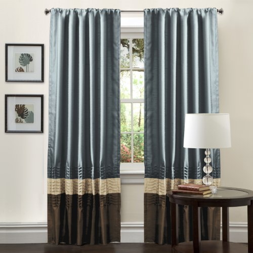 Lush Decor Mia Curtain Panel Pair, 54-Inch by 84-Inch, Federal Blue