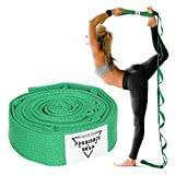 Forbidden Road Stretch Strap with Multi- Loop Exercise Strap for Physical Therapy Yoga Dance Pilates Greater Flexibility and Fitness Workout Deepen (Green, 1.578 inch (3.8200cm))