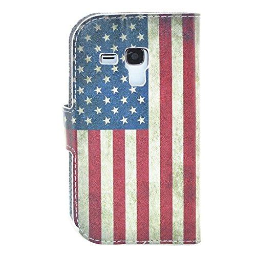 Funda Iphone, Rosa patrón de corazón Flip caja de cuero con el titular y ranuras de tarjeta para Samsung Galaxy S Duos / S7562 ( SKU : S-SCS-5292K ) S-SCS-5292C