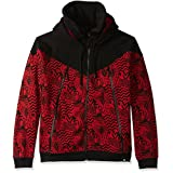 Southpole Men's Long Sleeve Fleece Hooded Ninja Neck Full Zip with Color Block All Over Prints, Red, Large