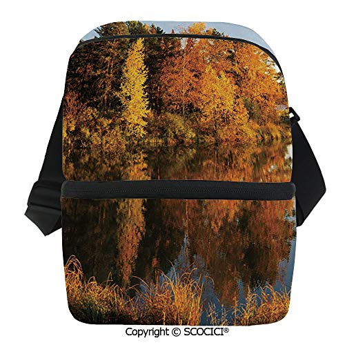 SCOCICI Reusable Insulated Grocery Bags Lake in Sunset Rays Autumn Landscape Pond Woodland Outdoors Ecology Environment Decorative Thermal Cooler Waterproof Zipper Closure Keeps Food Hot Or Cold
