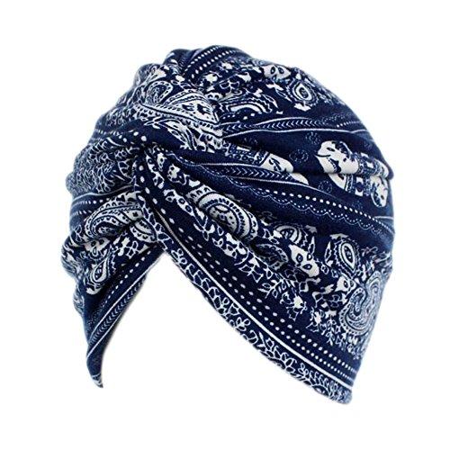 Decou Elephant Printed Twist Pleated Hair Wrap Stretch Turban E234 (Navy)