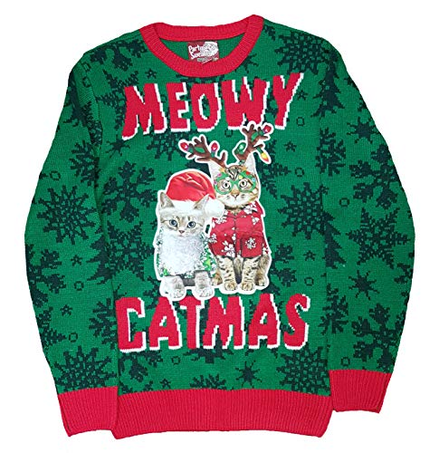 Christmas Meowy Catmas Green Pullover Sweater - Medium]()