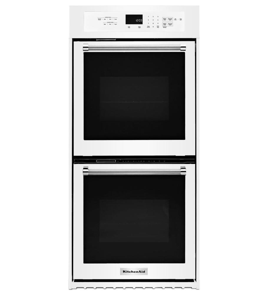 """White Kitchenaid 24"""" Double Wall Oven With True Convection"""