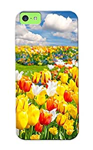 Elizabethshelly Sanp On Case Cover Protector For Iphone 5c (tulips Field Nature Flowers Landscape ) For Christmas Day's Gift