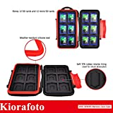 Kiorafoto Professional Water-Resistant Anti-Shock Holder Storage SD SDHC SDXC TF Memory Card Case Protector Cover with Carabiner for 12SD Cards & 12 Micro SD Cards