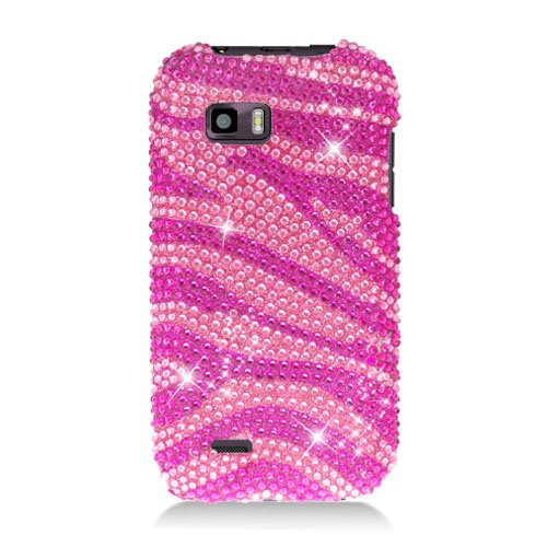 (Eagle Cell PDTMMYTOUCHQS302 RingBling Brilliant Diamond Case for Huawei myTouch Q - Retail Packaging - Hot Pink Zebra)