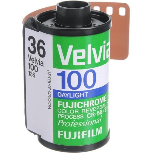 Fujifilm Fujichrome Velvia RVP 100 Color Slide Film ISO 100, 35mm Size, 36 Exposure, RVP100-36, (Magenta Photographic Dye)