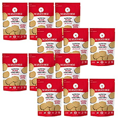 Greater Knead Gluten Free Bagel Chips - Plain, Vegan, non-GMO, Free of Wheat, Nuts, Soy, Peanuts, Tree Nuts