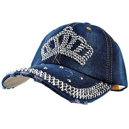 (Elonmo Cute Crown Baseball Cap Silver Jewel Rhinestone Bling Hats Jeans Wash Denim (Dark Blue))