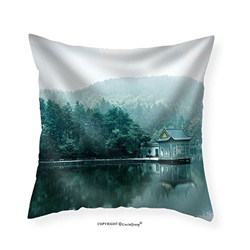 VROSELV Custom Cotton Linen Pillowcase Lake Landscape in LushanBlue Sky and the Pavilion Reflected in the Water - Fabric Home Decor - Pavilions Stores Denver