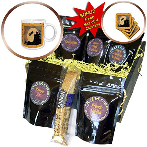 3dRose Beverly Turner Halloween Design - Haunted House in Spider Frame, Word Boo, Ghost, Bats, Grave Yard - Coffee Gift Baskets - Coffee Gift Basket (cgb_304882_1)