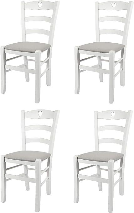 Tommychairs Set 4 sedie Cuore 38 per Cucina e Sala da Pranzo, Struttura Robusta in Legno di faggio Laccato Bianco e Seduta Imbottita e Rivestita con