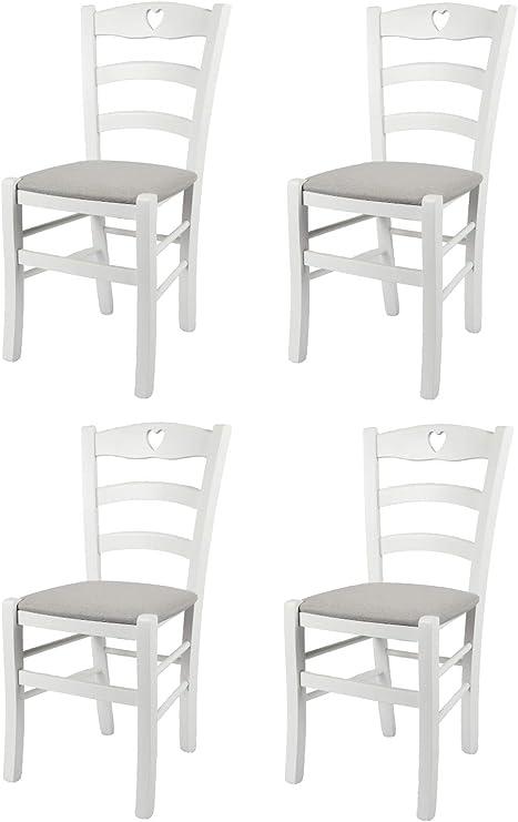 4 Sedie In Legno.Tommychairs Set 4 Sedie Modello Cuore Per Cucina Bar E Sala Da Pranzo Robusta Struttura In Legno Di Faggio Laccato Bianco E Seduta Rivestita In Tessuto Colore Grigio Perla Amazon It Casa