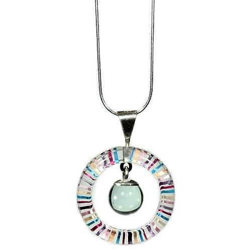 69e50eba8d6ff Joyería para mujer - Dije de vidrio brillante con cadena de plata ...