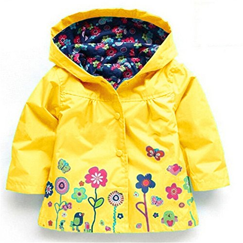 BibiCola Spring Autumn Children Hoodies Baby Girls Flowers Windbreaker Jacket Kids Jacket Outerwear Girls Rain Coat (5T, yellow) (Leaving Before The Rain Falls)